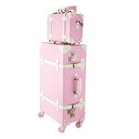 "Premium Vintage Luggage Sets 24"" Trolley Suitcase and 12"" Hand Bag Set with TSA Locks"