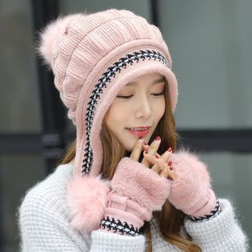 Female Winter Knitted Hat Casual All-match Sweet Lovely Rabbit Fur Knit Women Hat Winter Warm Knitting Cap+Glove