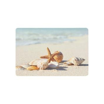 Autumn Fall welcome door mat doormat Summer Theme Anti-slip  Home Decor, Starfish Seashells on Sandy Beach Indoor Outdoor Entrance  Rubber Backing AT_76_7