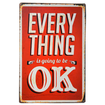 [Everything is OK] Vintage Metal Wall Hanging Creative Painting Wall Decoration