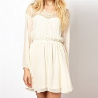 MP White Long Sleeve Dress with Lace Front 051321 NDP 0705