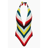 The Willow Plunging One Piece Swimsuit - Diagonal Paradise Stripe Print