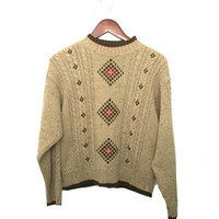Beige Knit Sweater in Folk Pattern