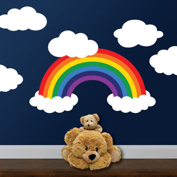Rainbow Wall Decal, Rainbow Room Decor, Rainbow and clouds, Nursery Wall decal, Bedroom Playroom decor, Toddler bedroom, Rainbow Baby Gift