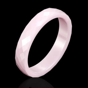 New 4mm Light Pink Black White Beautiful Hand Cut Ceramic Ring For Woman Top Quality Jewelry Without Scratches Woman Ring