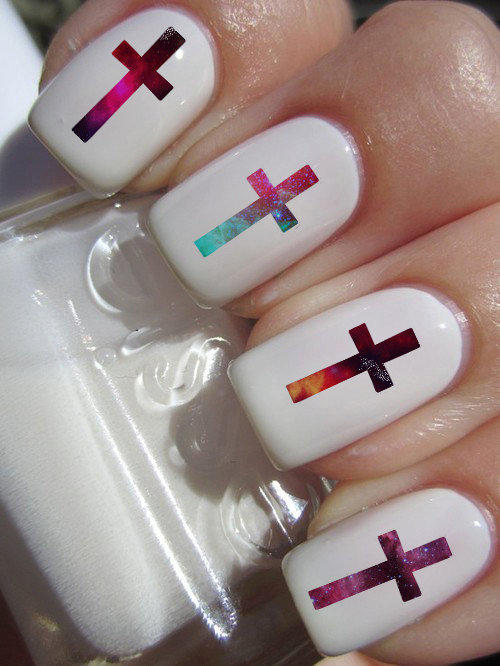 Galaxy Cross Nail Decals 24 Ct From Zlinenails On Etsy Gear