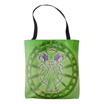 Gemini Zodiac Sign Tote Bag