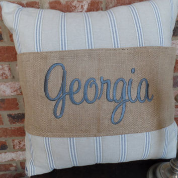 "Burlap Pillow Wrap  for a 16"" or 18"" pilow with your state name  machine embroidered"