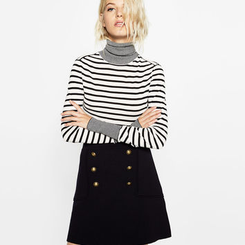 MULTI-STRIPE POLO NECK SWEATER