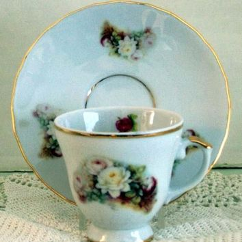 Set of 2 Demitasse Tea Cup and Saucer White Rose Spray