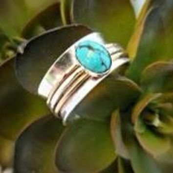 Wedding Fidget Spinner Ring with Turquoise Stone