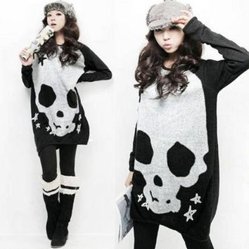 PEAPIX3 Women Scoop Neck Full Batwing Sleeve Skull Heads Prints Long Pullover AutumnT-shirt  D306-8217 = 1945911236