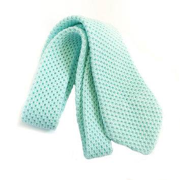 Mens knit mint green tie, groomsmen ties, wedding necktie, gift for him