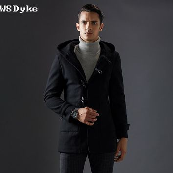 Men Winter Long Jackets With Hoodie Slim Charming Men Wool Coat