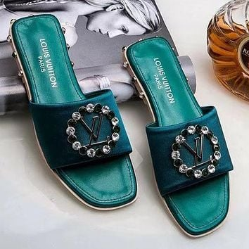 LV Louis Vuitton Popular Women Summer Beach Home Water Drill Sandal Slipper Shoes(6-Color) Green I-ALS-XZ