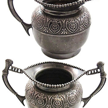 ANTIQUE Embossed Design Silver Cream and Sugar Set / Antique New York Silver / L'Allemand Silver Made in the USA / Embossed Silver Creamer