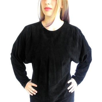 80s Designer Buttery Soft Black Suede Tunic Blouse Sherry Michals Pegasus Sausalito Cal Vintage New Wave