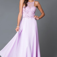 Long Open Back Dave and Johnny Chiffon Prom Dress
