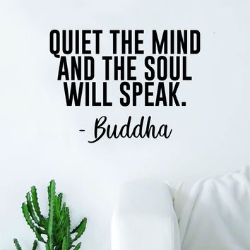 Buddha Quiet the Mind v2 Quote Decal Sticker Wall Vinyl Art Decor Bedroom Living Room Namaste Yoga Mandala Om Meditate Zen Lotus Inspirational Soul Love Peace