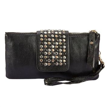 Foldover Clutch with Rivets and Lots of Pockets