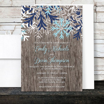 Rustic Winter Wedding Invitations - Rustic Country Winter Wood Navy Aqua Blue Snowflake - Snowflake Wedding Invitations - Printed