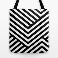 Black and White Stripes Tote Bag by Liv B