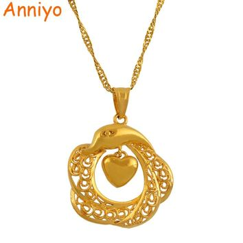 Anniyo Charm Heart Dolphin Pendants Necklaces for Women Gold Color Love Jewelry Girl,Fashion Brilliant Necklaces Woman