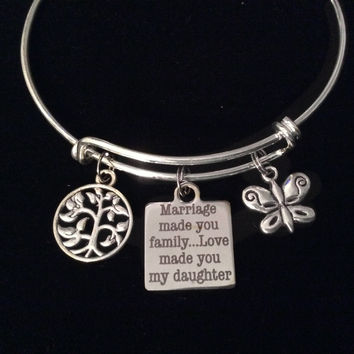 Marriage Made you Family Love Made You My Daughter Expandable Charm Bracelet Daughter In Law Adjustable Silver Wire Bangle Gift
