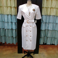 1980s Nautical White Boat Dress with Double Breasted Gold Buttons Compass Rose Fleur de Lis Matching Belt L/XL