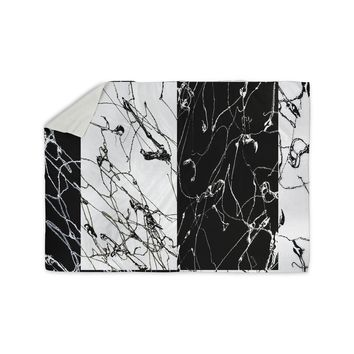 "Nina May ""Neutra Splatter"" Black White Mixed Media Sherpa Blanket"