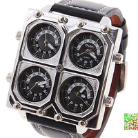 Free shipping/oulm the radium four movement watches leather strap unique design, the most characteristic of watches
