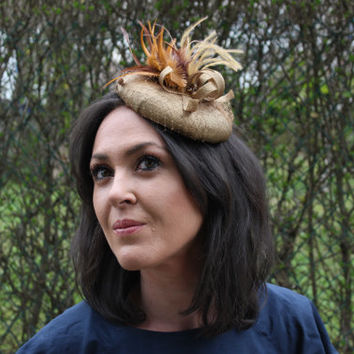 Gold Fascinator Hat, Gold Headpiece, gold headdress, gold beret, gold millenery, round fascinator with feathers