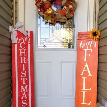 Reversible porch sign, Harvest porch sign, happy fall porch sign, merry Christmas porch sign, joy porch sign, let it snow porch sign
