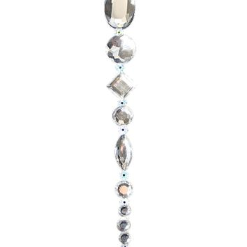 "8"" Beaded Jewel Clear Silver Icicle Drop Christmas Ornament"