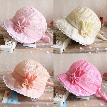 Summer Cute Princess Baby Hat With Bow Solid Color Lace Hollow Baby Girl Cap Toddler Kids Beach Bucket Hats