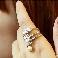 Fashion Flower&Butterfly&Pearl Three Wrap Ring at Online Cheap Fashion Jewelry Store Gofavor