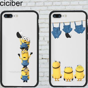 ciciber Phone Cases Minions for Iphone 6 6S 7 8 Plus X Hybrid Silicone Matte Hard PC Phone Back Cover Capinha Capa Fundas