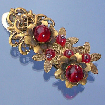 Miriam Haskell Beaded Dress Clip Cherry Red Glass Beads Frank Hess Era Vintage Costume Jewelry
