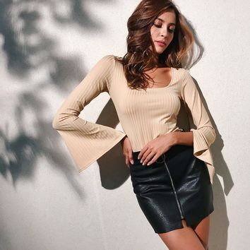 Women All-match Simple Solid Color Pagoda Sleeve Long Sleeve Show Thin T-shirt Tops