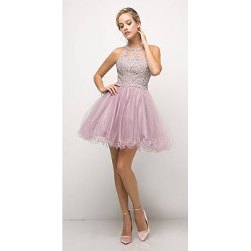 Appliqued Bodice Halter Homecoming Dress Mauve