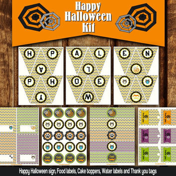 Printable Halloween Party Set Kit - Printable Chevron Halloween Garland - Party Decoration DIY Halloween Cake Toppers Food Water Labels Tags