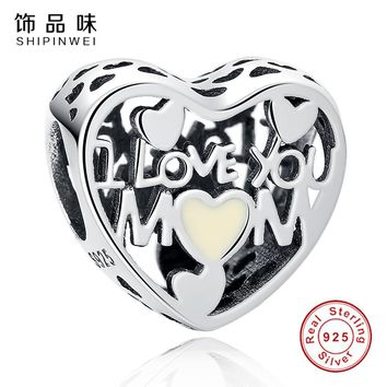 Shipinwei Love for Mother Heart diy Charm Beads with Clear CZ Fit Original Pandora Charms Bracelets Jewelry Mother's Day gift