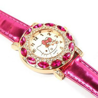 High quality Leather Hello Kitty Watch Crystal Wrist Watch 1072