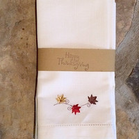 Set of 4 Autumn Fall Blowing Leaves Thanksgiving Embroidered Cloth Dinner Napkins / leaf decor / Custom / table linens / table decor