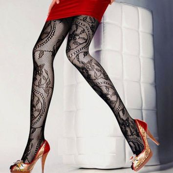 Fashion Women Fishnet Ladies Black Mesh Lace Pattern Pantyhose Stockings Socks