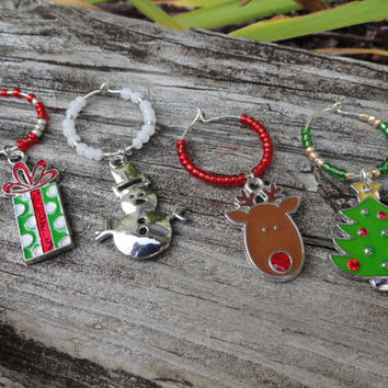 Christmas Wine Charms, Christmas Decor, Wine Charms, Christmas Charms, Christmas Gift, Present, Rudolph, Stocking Stuffer, Gifts under 20