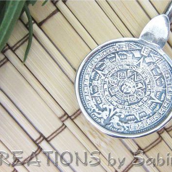 Mixer Spoon, Stirrer, Sterling Silver, Long Stirring Straw, Mayan Calendar, Aztec, Vintage REDUCED PRICE