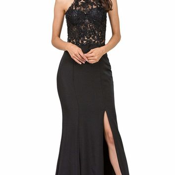 Dancing Queen - 2244 Beaded Lace Illusion Halter Sheath Prom Dress
