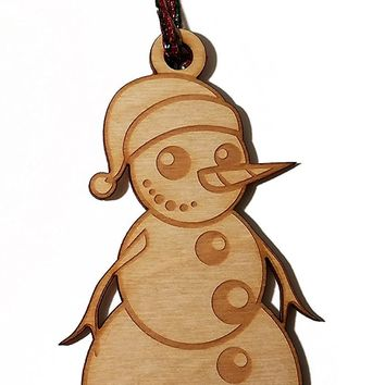 Snowman Happy Holidays 2016 Laser Engraved Wooden Christmas Tree Ornament Gift Seasonal Decoration