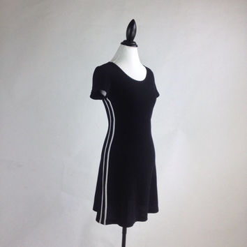90's Sporty Spice Side Stripe Knit Black & White Mini Dress // M - L
